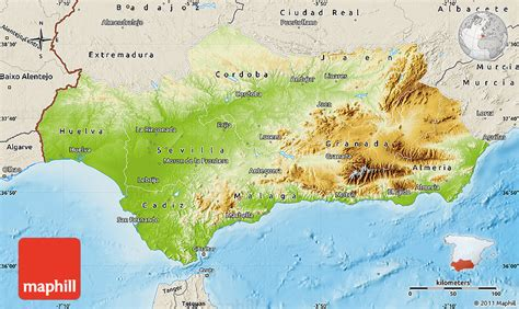 map andalucia relief physical spain maps shaded outside east north west