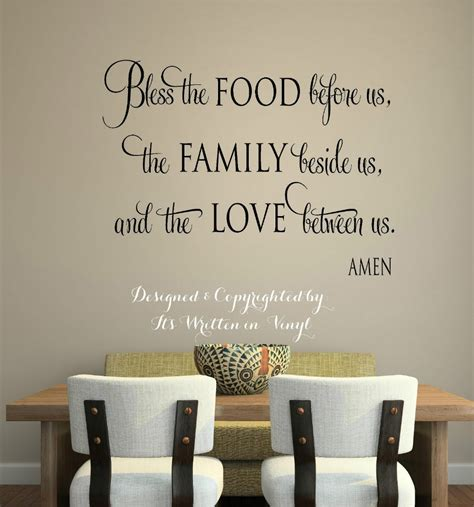bless  food vinyl lettering wall decal words home