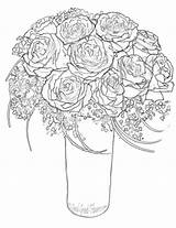Bunch Roses Coloring Drawing Pages Escalator Getdrawings sketch template