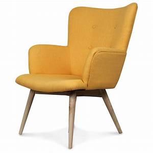 Fauteuil Design Scandinave : fauteuil design style scandinave pieds bois tissu jaune ~ Melissatoandfro.com Idées de Décoration