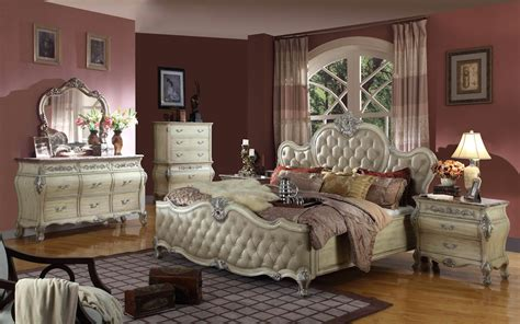 tufted bedroom set antoinette white leather bed traditional bedroom set w