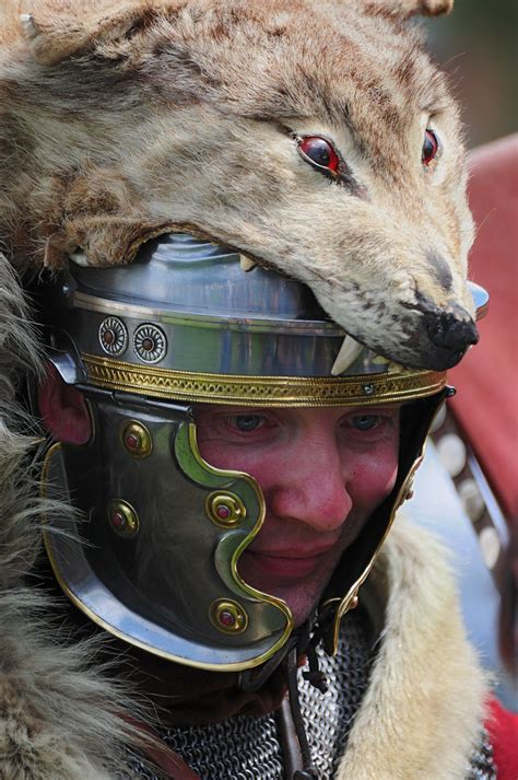 roman soldier  wolf skin headdress ermine street guar