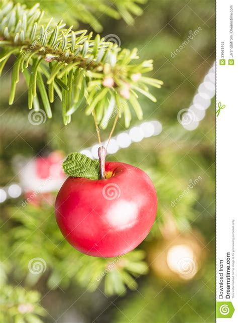 decoration apple hanging  christmas tree stock