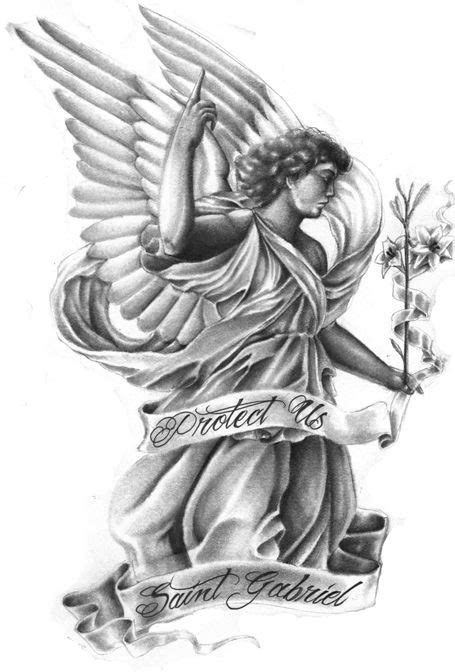 Good grey angel keeping floral stem and long stripe tattoo