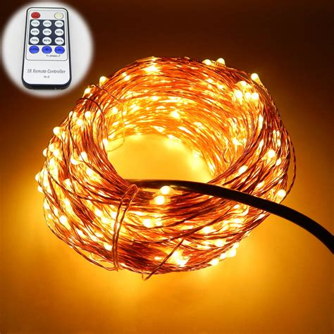 led string lights with remote 7 colors 20m 65ft 200 leds copper wire led string light