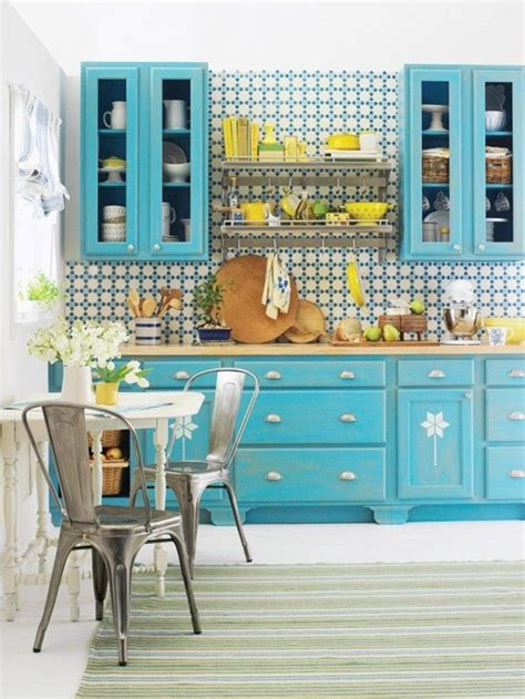 blue and yellow kitchen fixing up the flat