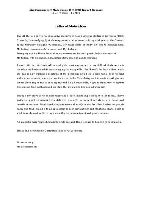 model of motivation letter