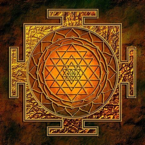 shri yantra gold lakshmi mixed media by lila shravani