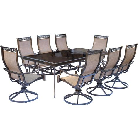 outdoor rectangular table and chairs hanover monaco 9 piece aluminum outdoor dining set with