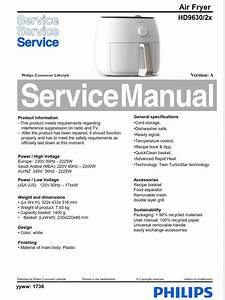 Philips Airfryer Hd9630  2x Series  Service Manual Free Download