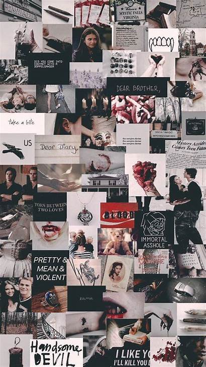 Diaries Vampire Aesthetic Wallpapers Collage Tvd Parede