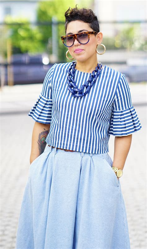 diy pleated sleeve top  denim skirt mimi  style