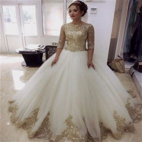 gold and white lace wedding dress Naf Dresses