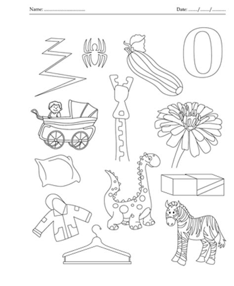 color with z color the picture which start with letter z printable
