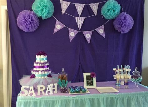 Purple And Teal Baby Shower Decorations by Teal Purple Baby Shower Baby Baby Shower Table