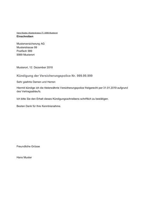 kuendigung versicherung vorlage schweiz kostenlos