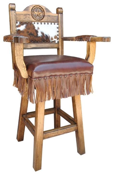 "Texas Western Deluxe Swivel Bar Stool, Arms, 24"" Counter"