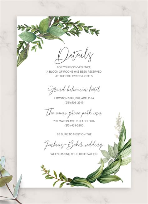 Download Printable Green Floral Wedding Invitation Suite