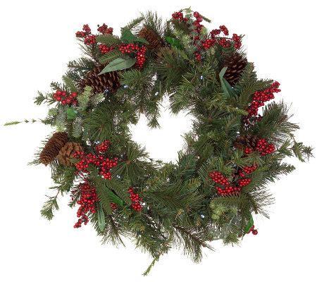 solar powered 24 quot prelit winterberry wreath page 1 qvc com