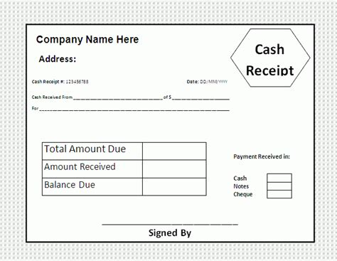 cash receipt template  business templates