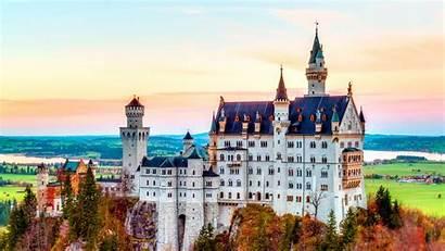 Europe Castle Germany Backgrounds Neuschwanstein Landscape Fall