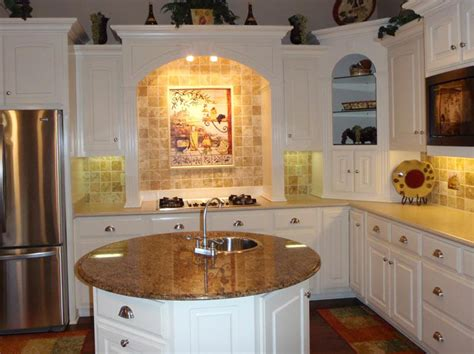 circular kitchen island backspalsh conventional stove white cabinets