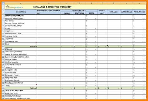 construction estimate template excel construction estimating templates for excel free exle