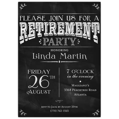 chalkboard black retirement party invitations paperstyle