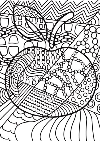 pop art apple coloring page  printable coloring pages