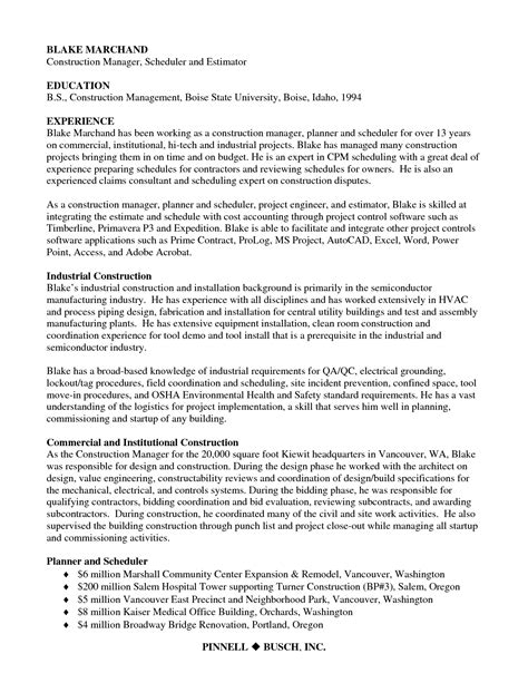 sle resume for project engineer construction 28 images