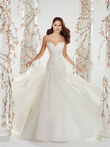 strapless organza wedding dress with chapel train With the wedding dress