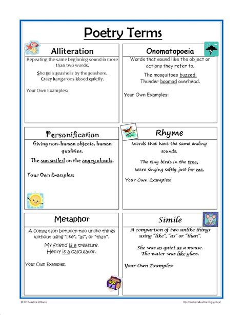 classroom freebies  figurative language reference sheet