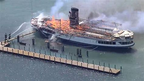 Old Boblo Boat by Old Boblo Island Boat Catches Fire At Detroit Marina