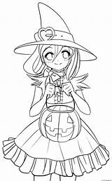 Coloring Witch Princess Pages Cute Pumpkin Printable Autumn Print sketch template