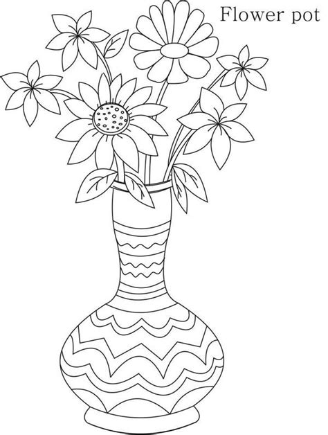 tribal flower vase coloring page coloring sky