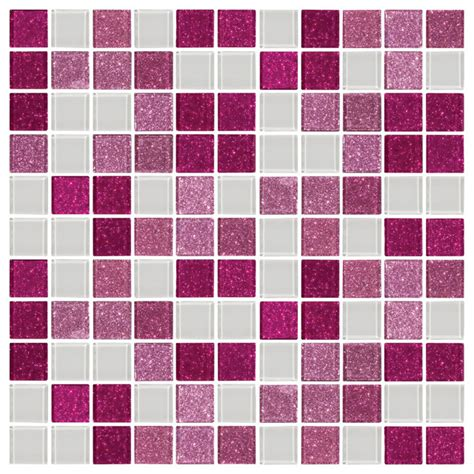 pink raspberry glitter and white glass tile mix