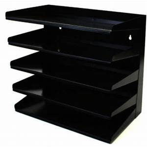 winmac 5 tier letter tray slope grey or black metal With tiered letter tray