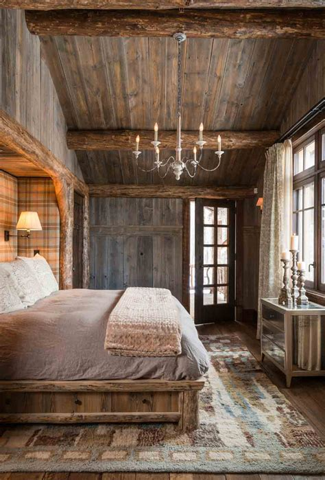 Rustic, Ceiling, Floor, Cabinmountain Home Master Bedroom