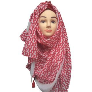 hijab  red color printed hijab  multiple