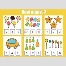 Counting Educational Children Game Kids Activity How Many Objects Task Stock Vector Art