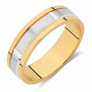 Men39s wedding band in 10kt yellow white gold for Mens wedding rings yellow gold