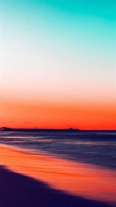 Sunset Beach Nature Fall Sea Night Iphone