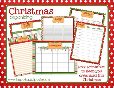 the polka dot posie christmas organizing printables to