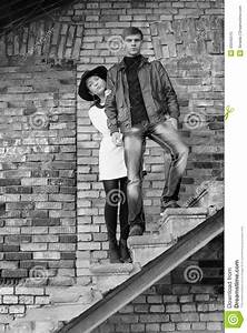 Unusual Young Pair Of People Love Black And White Stock ...
