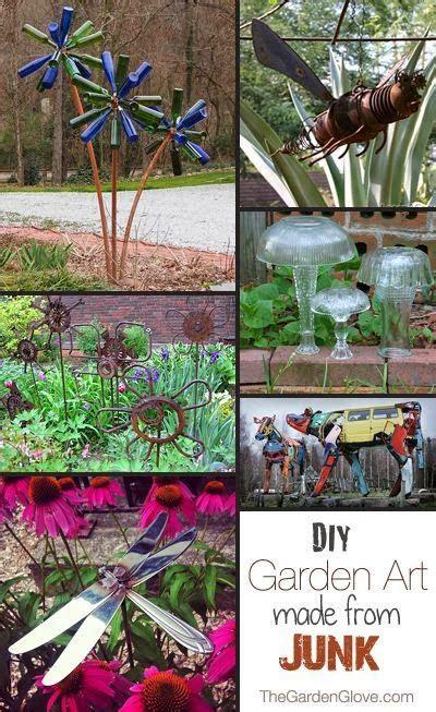 diy junk garden art   garden  garden art