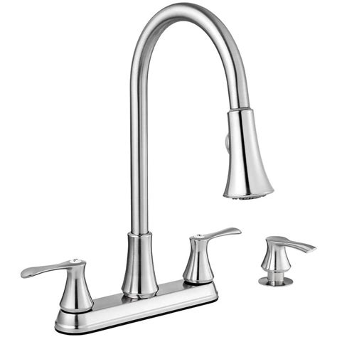 two handle kitchen faucets shop project source stainless steel 2 handle deck mount