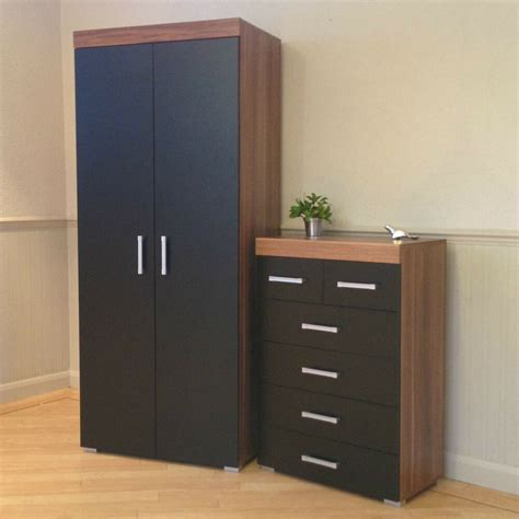 Black Set Of Drawers by 2 Door Wardrobe 4 2 Chest Of Drawers In Black Walnut