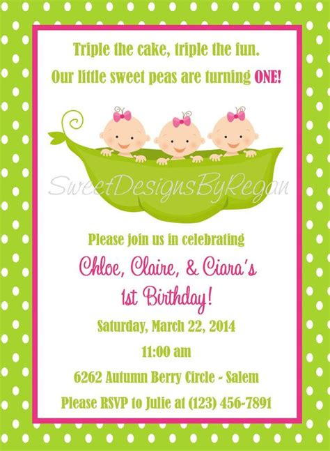 triplet birthday invitation digital file
