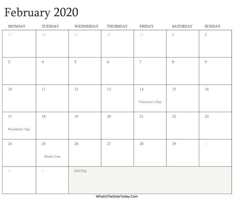 editable calendar february holidays whatisthedatetodaycom