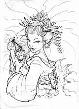 Tattoo Drawings Geisha Line Coloring Pages Stencils Adult Printable Deviantart Japanese Tattoos Asian Books Sheets Stencil Traditional Flash Designs Sketch sketch template
